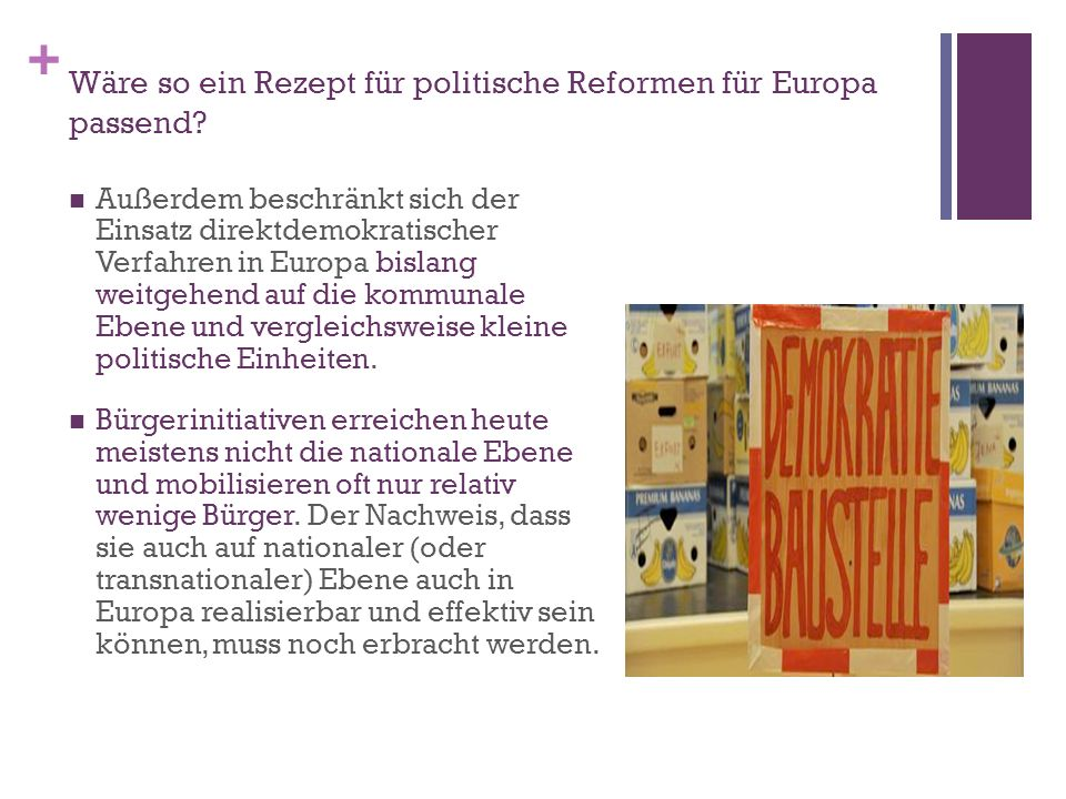 Wäre so ein Rezept für politische Reformen für Europa passend