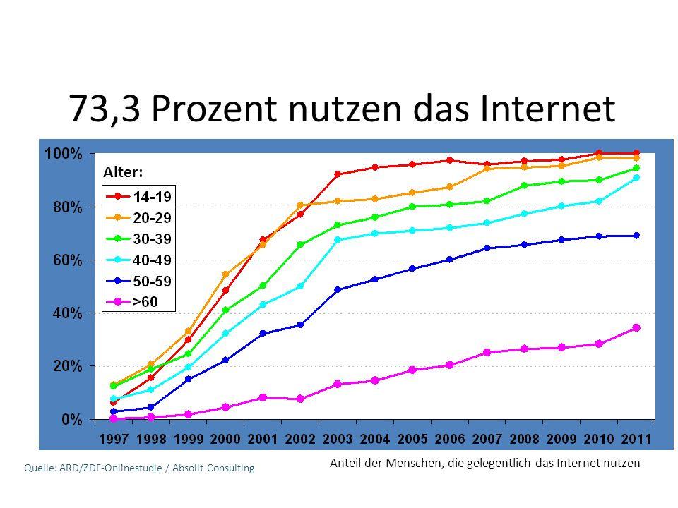 73,3 Prozent nutzen das Internet