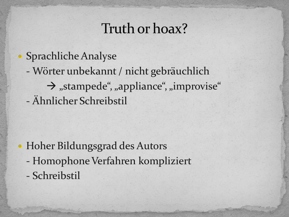 Truth or hoax Sprachliche Analyse