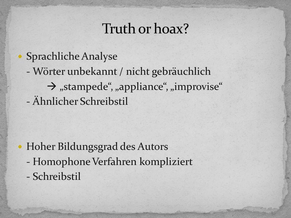 Truth or hoax Sprachliche Analyse