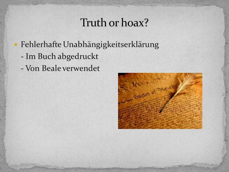 Truth or hoax Fehlerhafte Unabhängigkeitserklärung