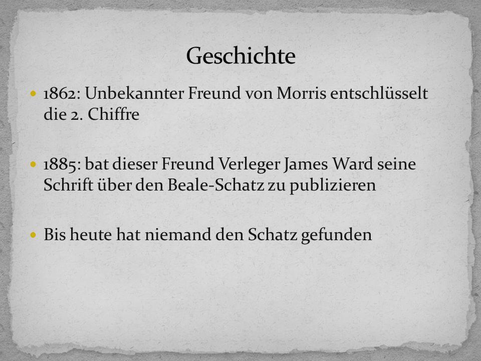 Geschichte 1862: Unbekannter Freund von Morris entschlüsselt die 2. Chiffre.