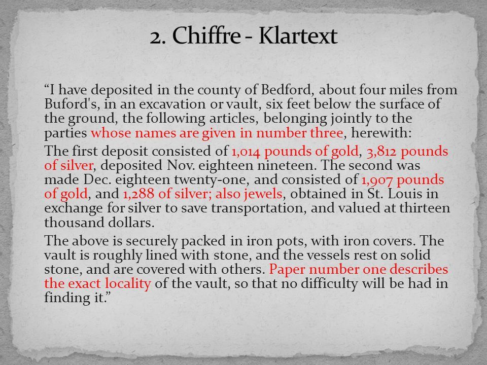 2. Chiffre - Klartext