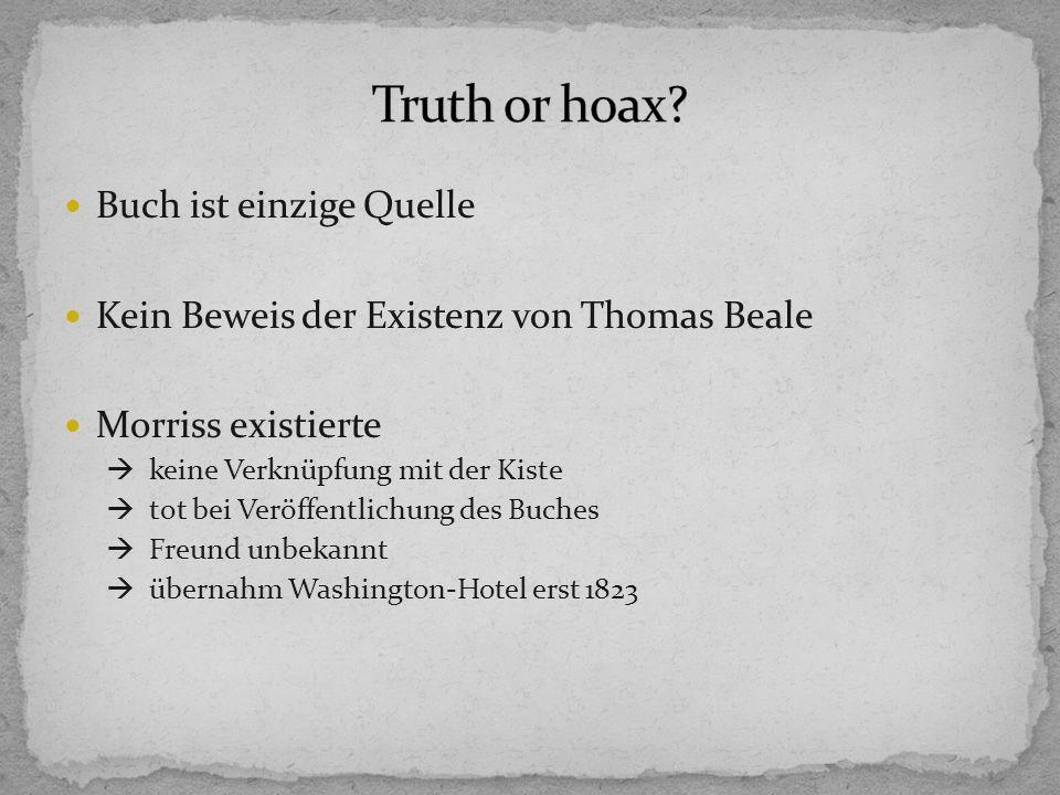 Truth or hoax Buch ist einzige Quelle