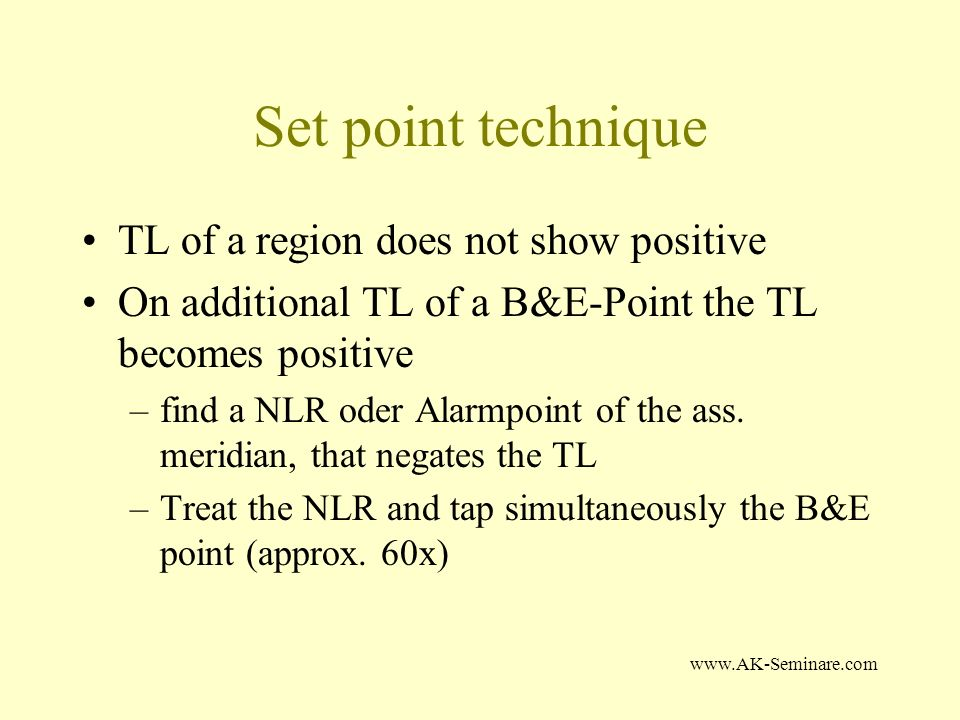 Set point technique TL of a region does not show positive