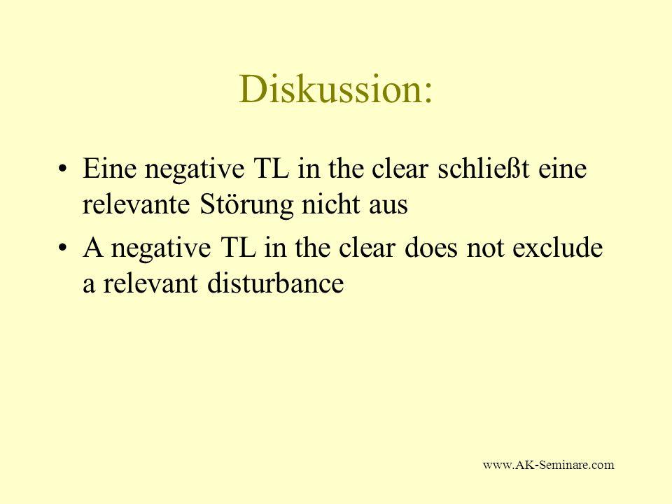 Diskussion: Eine negative TL in the clear schließt eine relevante Störung nicht aus.
