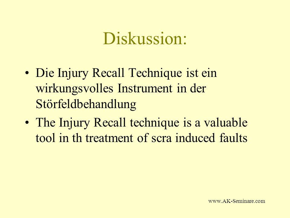 Diskussion: Die Injury Recall Technique ist ein wirkungsvolles Instrument in der Störfeldbehandlung.