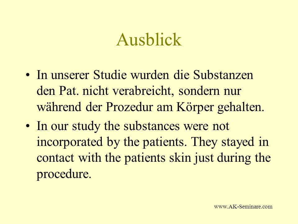 Ausblick In unserer Studie wurden die Substanzen den Pat. nicht verabreicht, sondern nur während der Prozedur am Körper gehalten.