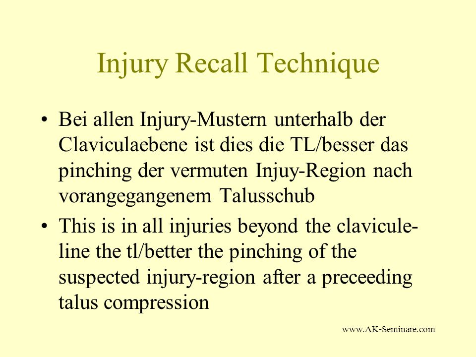 Injury Recall Technique
