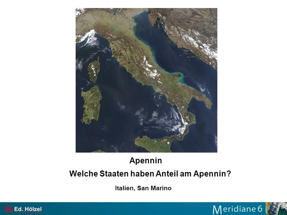 Welche Staaten haben Anteil am Apennin