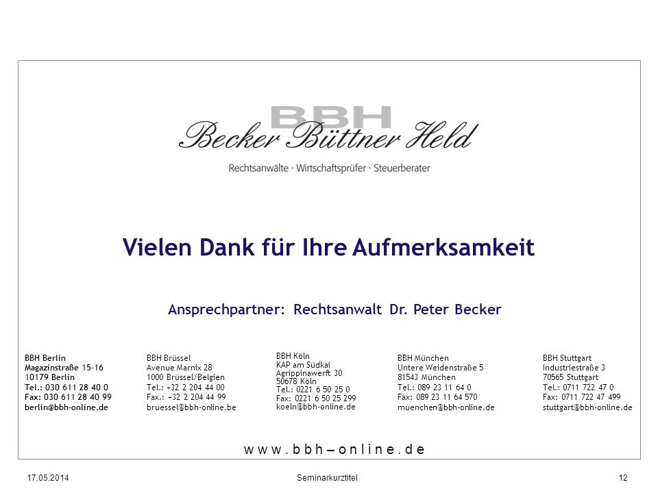 Ansprechpartner: Rechtsanwalt Dr. Peter Becker