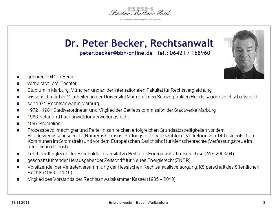 Dr. Peter Becker, Rechtsanwalt