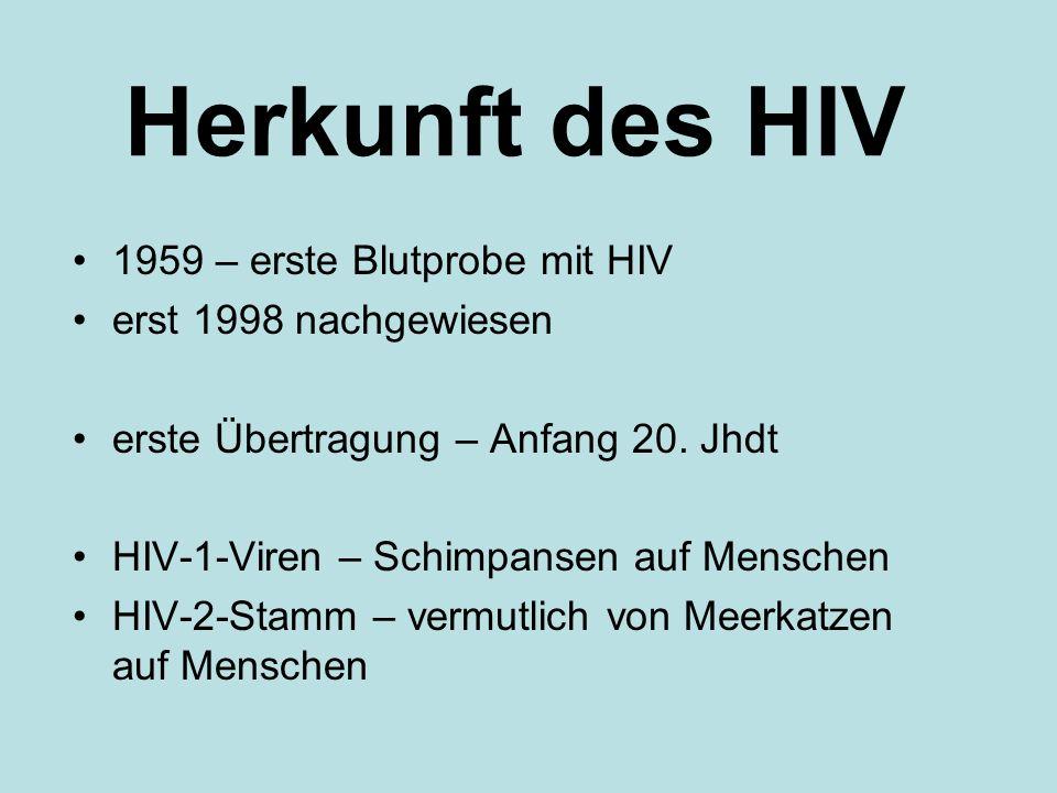 Herkunft des HIV 1959 – erste Blutprobe mit HIV erst 1998 nachgewiesen