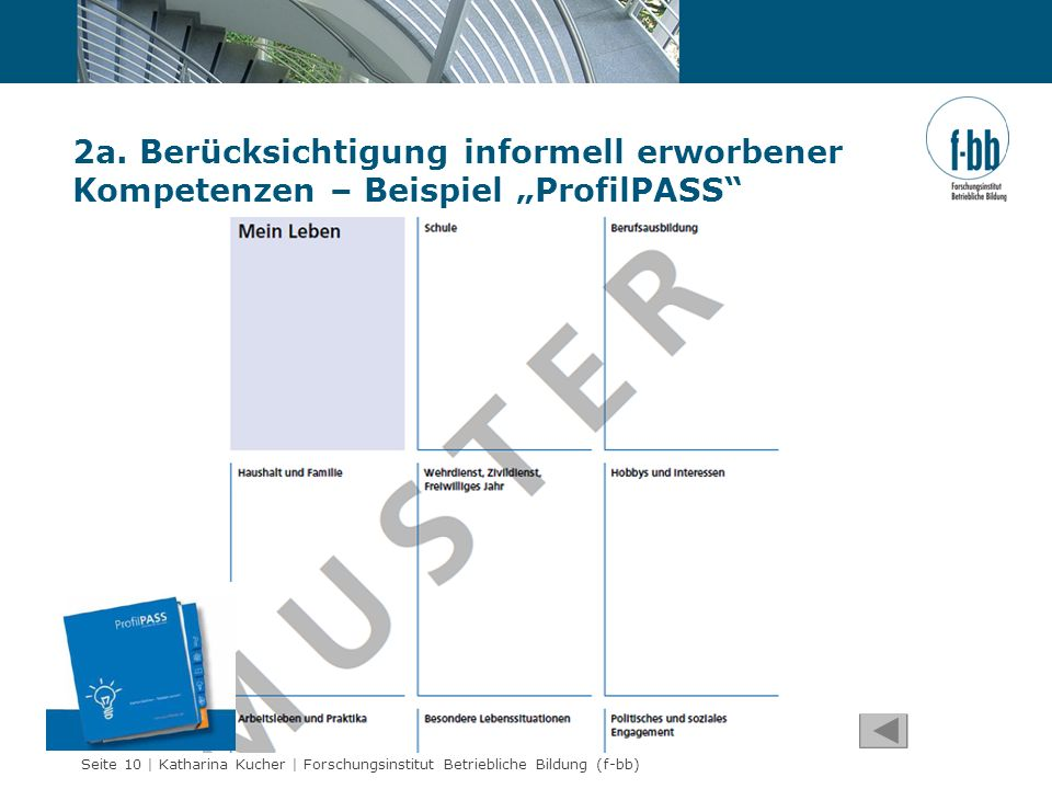 """2a. Berücksichtigung informell erworbener Kompetenzen – Beispiel """"ProfilPASS"""