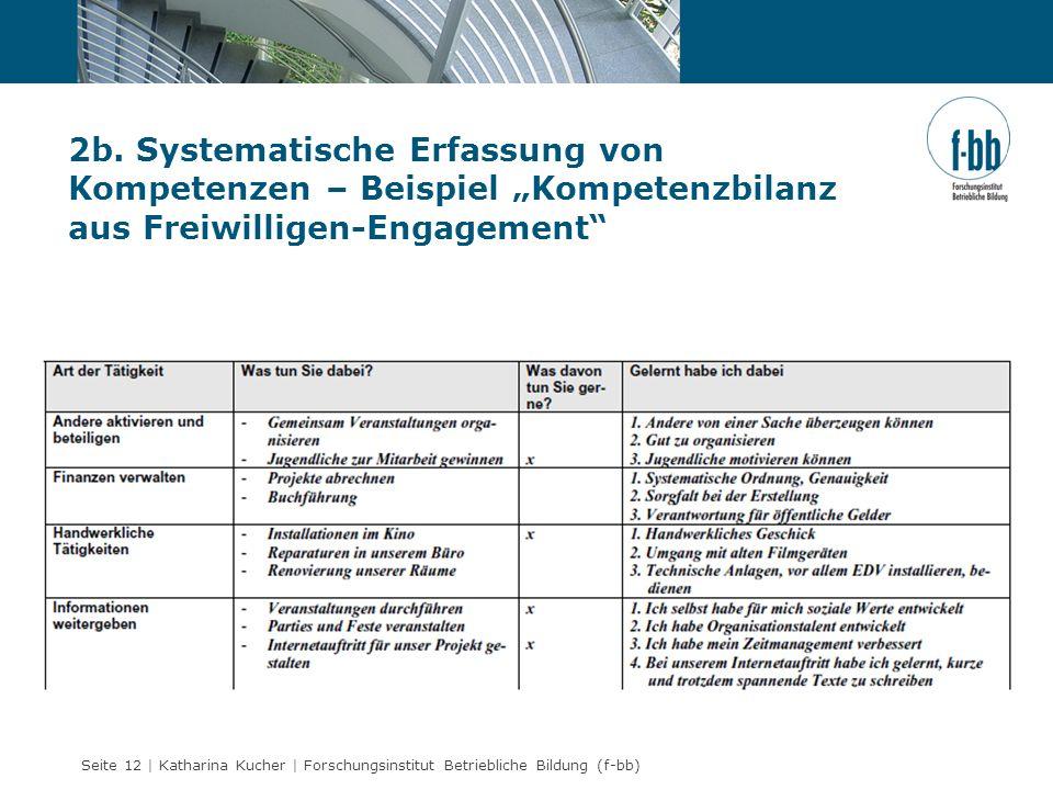 """2b. Systematische Erfassung von Kompetenzen – Beispiel """"Kompetenzbilanz aus Freiwilligen-Engagement"""