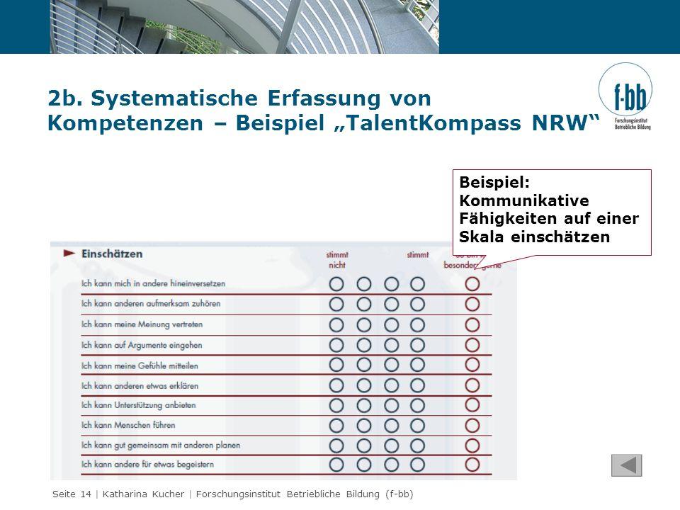 """2b. Systematische Erfassung von Kompetenzen – Beispiel """"TalentKompass NRW"""