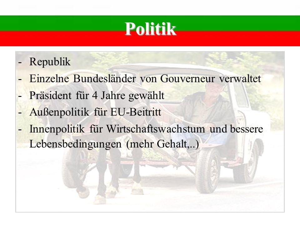 Politik Republik Einzelne Bundesländer von Gouverneur verwaltet