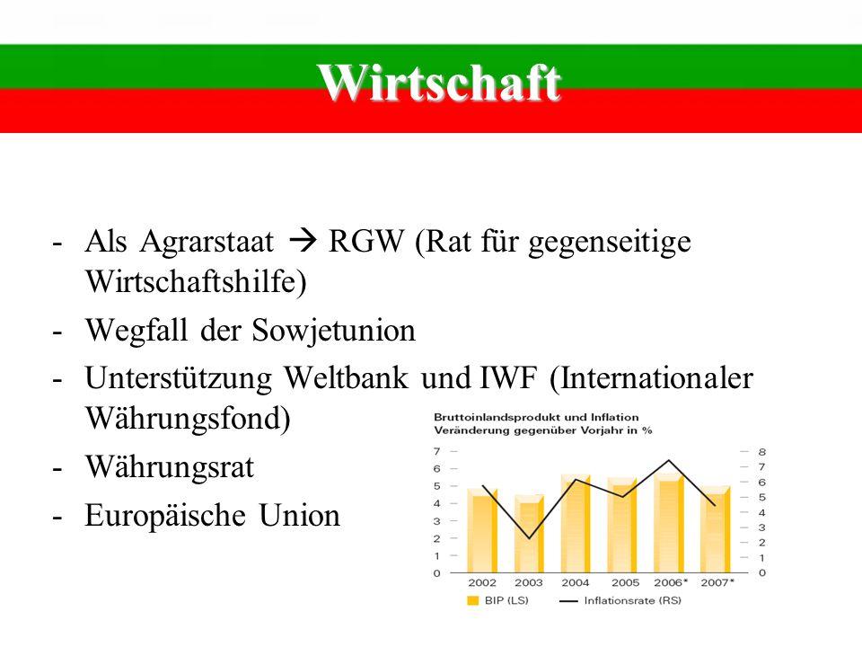 Wirtschaft Als Agrarstaat  RGW (Rat für gegenseitige Wirtschaftshilfe) Wegfall der Sowjetunion.