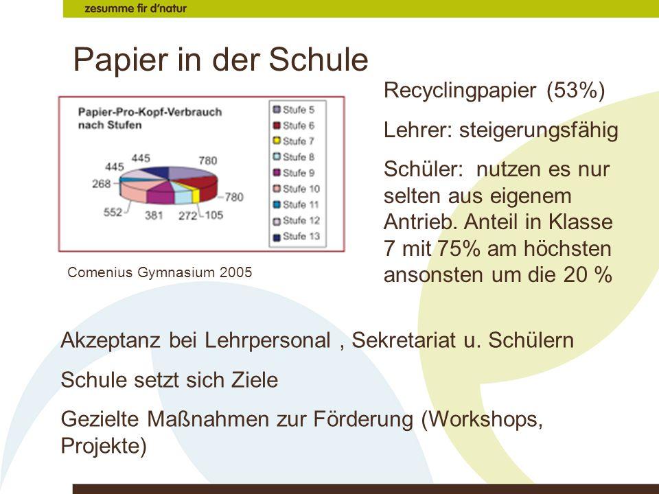 Papier in der Schule Recyclingpapier (53%) Lehrer: steigerungsfähig