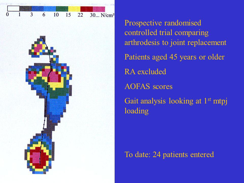 Prospective randomised controlled trial comparing arthrodesis to joint replacement