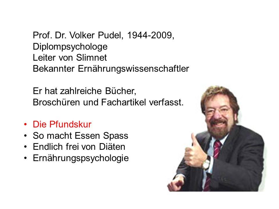 Prof. Dr. Volker Pudel, 1944-2009, Diplompsychologe. Leiter von Slimnet. Bekannter Ernährungswissenschaftler.