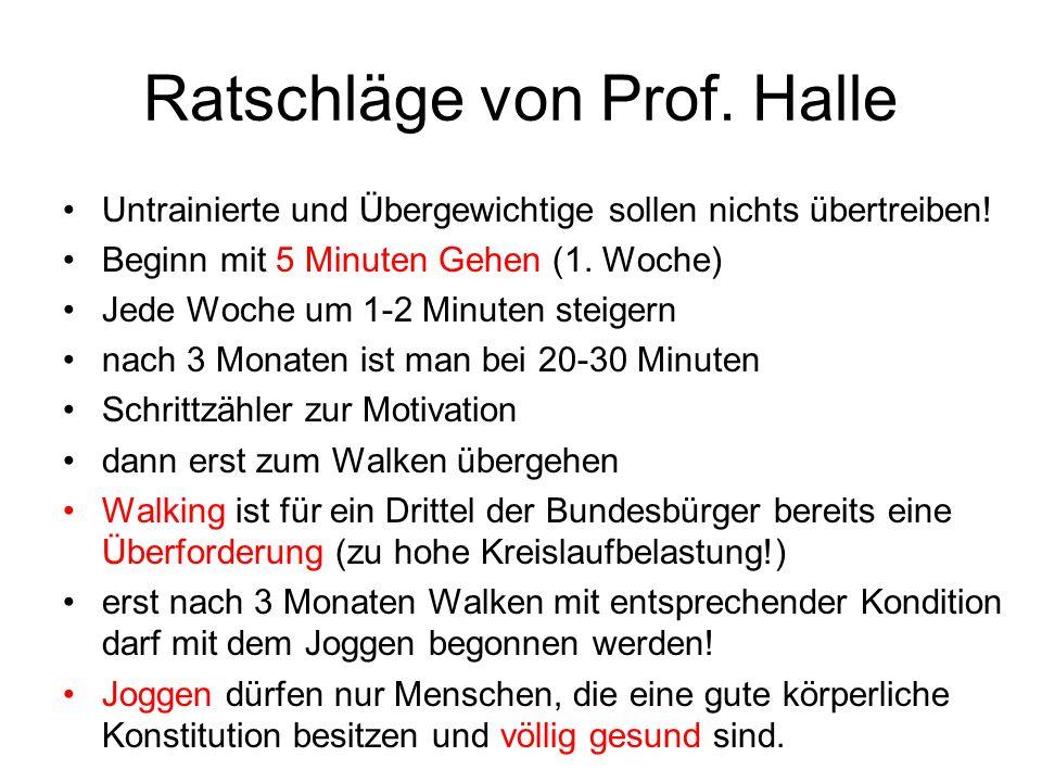 Ratschläge von Prof. Halle