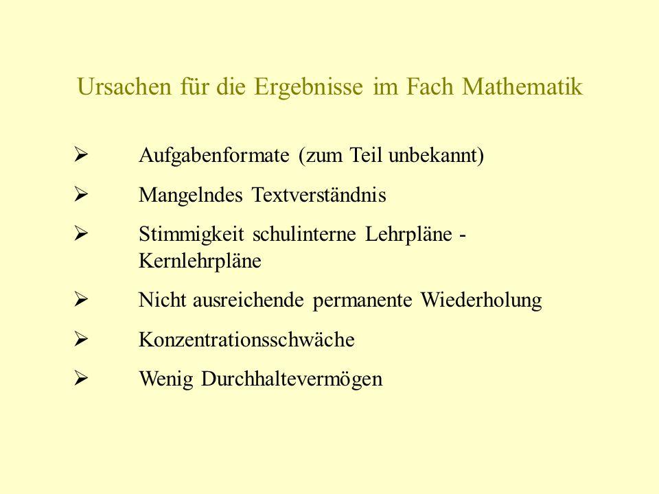 Ursachen Für Die Ergebnisse Im Fach Mathematik