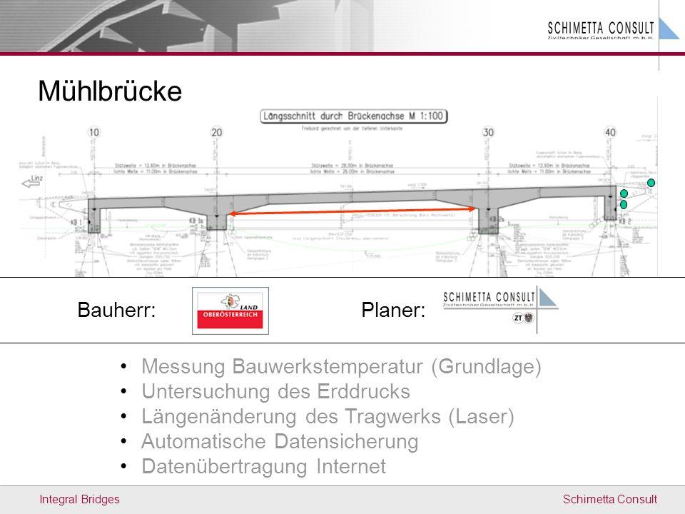 Mühlbrücke Bauherr: Planer: Messung Bauwerkstemperatur (Grundlage)