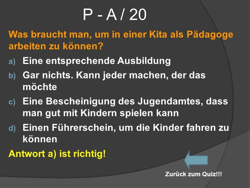 P - A / 20 Was braucht man, um in einer Kita als Pädagoge arbeiten zu können Eine entsprechende Ausbildung.