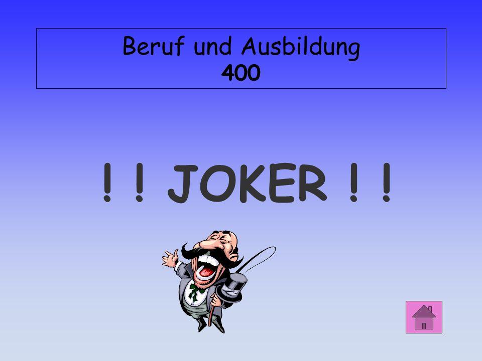 Beruf und Ausbildung 400 ! ! JOKER ! !