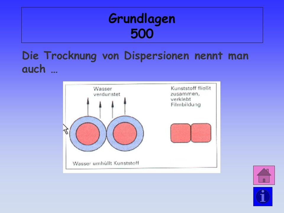 Grundlagen 500 Die Trocknung von Dispersionen nennt man auch …