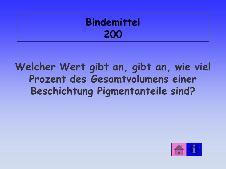 Bindemittel 200 Welcher Wert gibt an, gibt an, wie viel Prozent des Gesamtvolumens einer Beschichtung Pigmentanteile sind