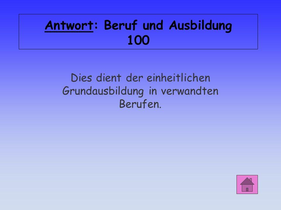 Antwort: Beruf und Ausbildung 100