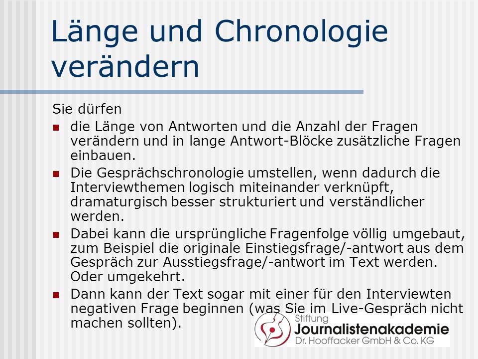 Länge und Chronologie verändern