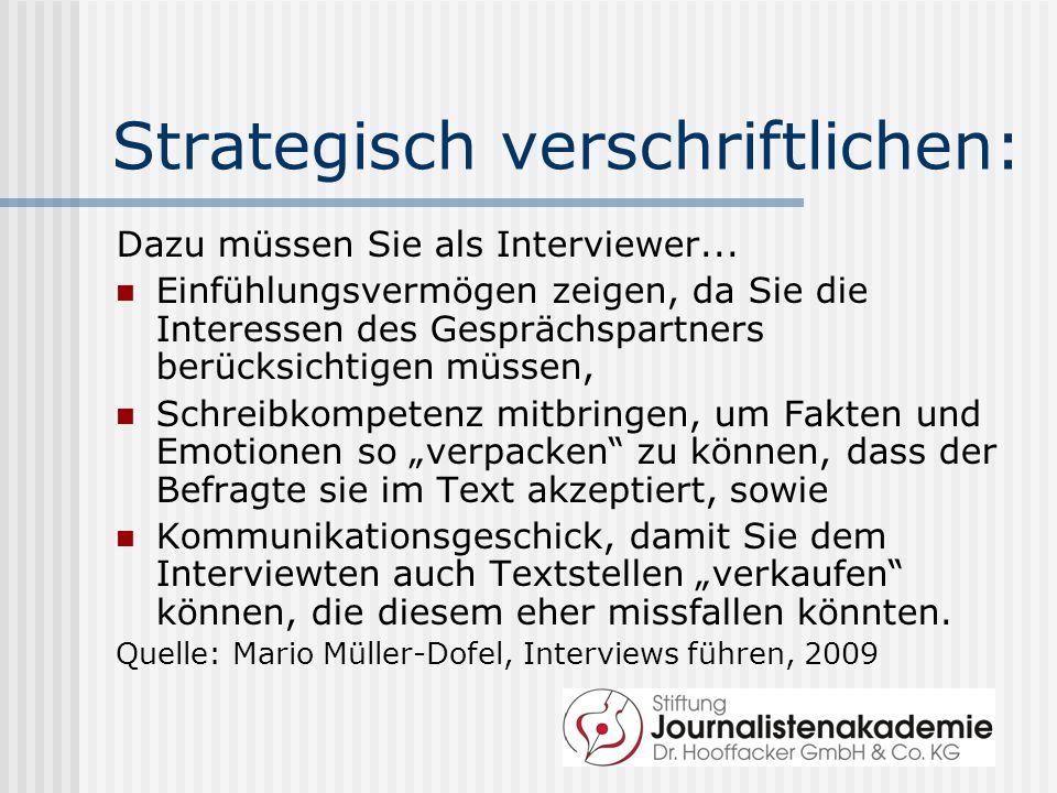 Strategisch verschriftlichen: