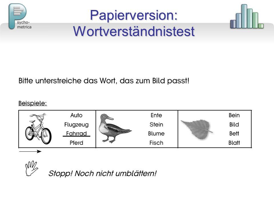 Papierversion: Wortverständnistest