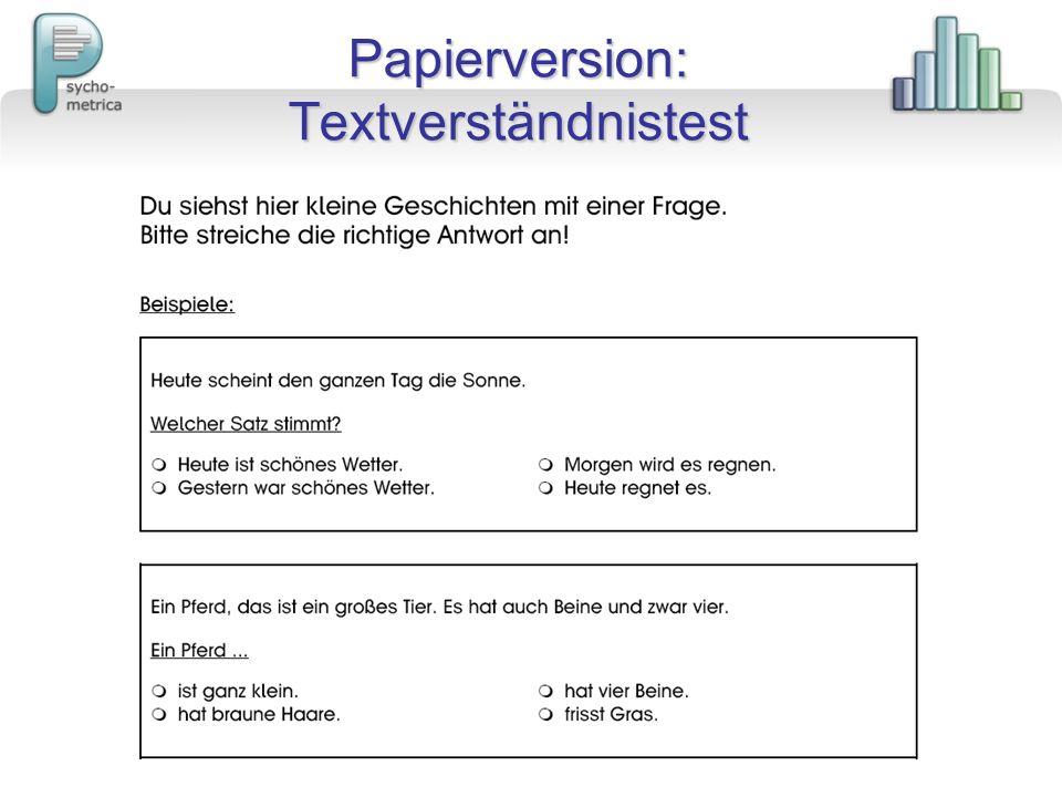 Papierversion: Textverständnistest