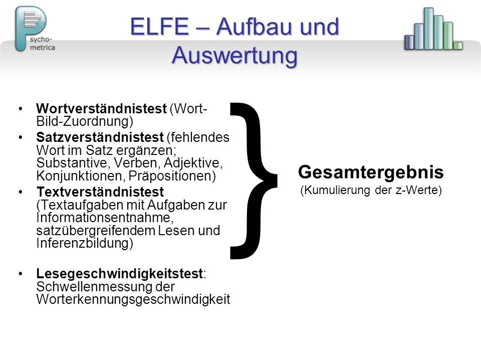 ELFE – Aufbau und Auswertung