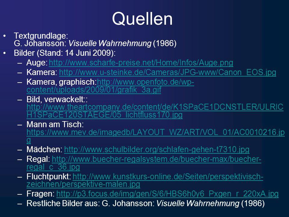 Quellen Textgrundlage: G. Johansson: Visuelle Wahrnehmung (1986)