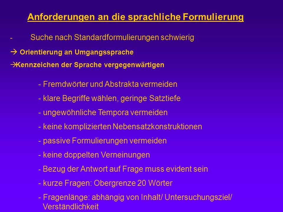 Anforderungen an die sprachliche Formulierung