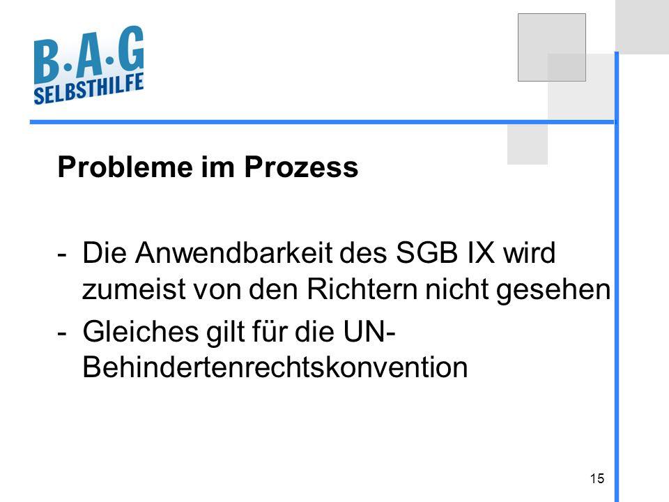Probleme im Prozess Die Anwendbarkeit des SGB IX wird zumeist von den Richtern nicht gesehen.