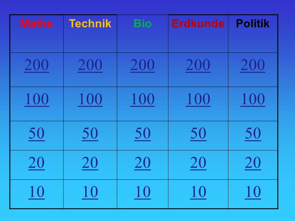 Mathe Technik Bio Erdkunde Politik 200 100 50 20 10