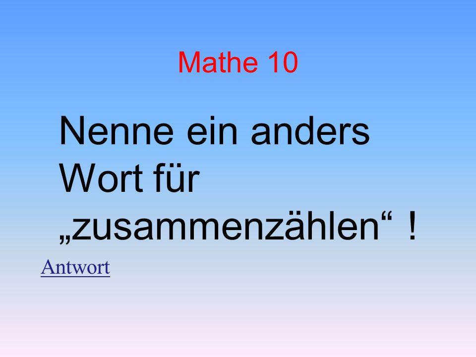 """Mathe 10 Nenne ein anders Wort für """"zusammenzählen ! Antwort"""