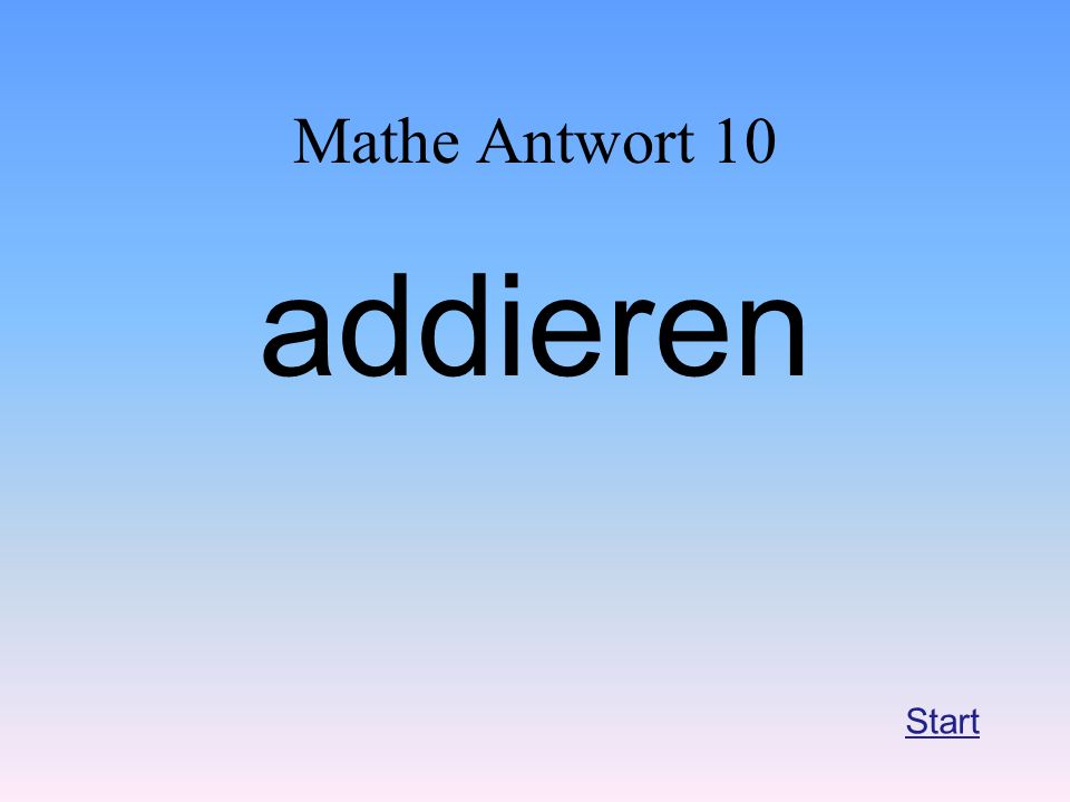 Mathe Antwort 10 addieren Start