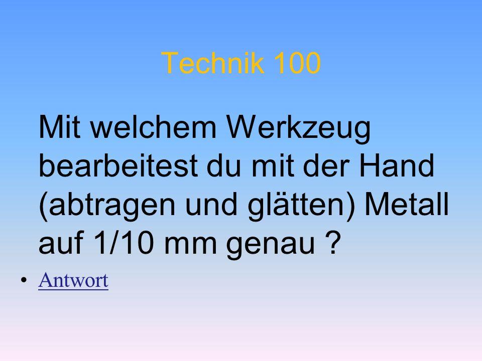 Technik 100 Mit welchem Werkzeug bearbeitest du mit der Hand (abtragen und glätten) Metall auf 1/10 mm genau