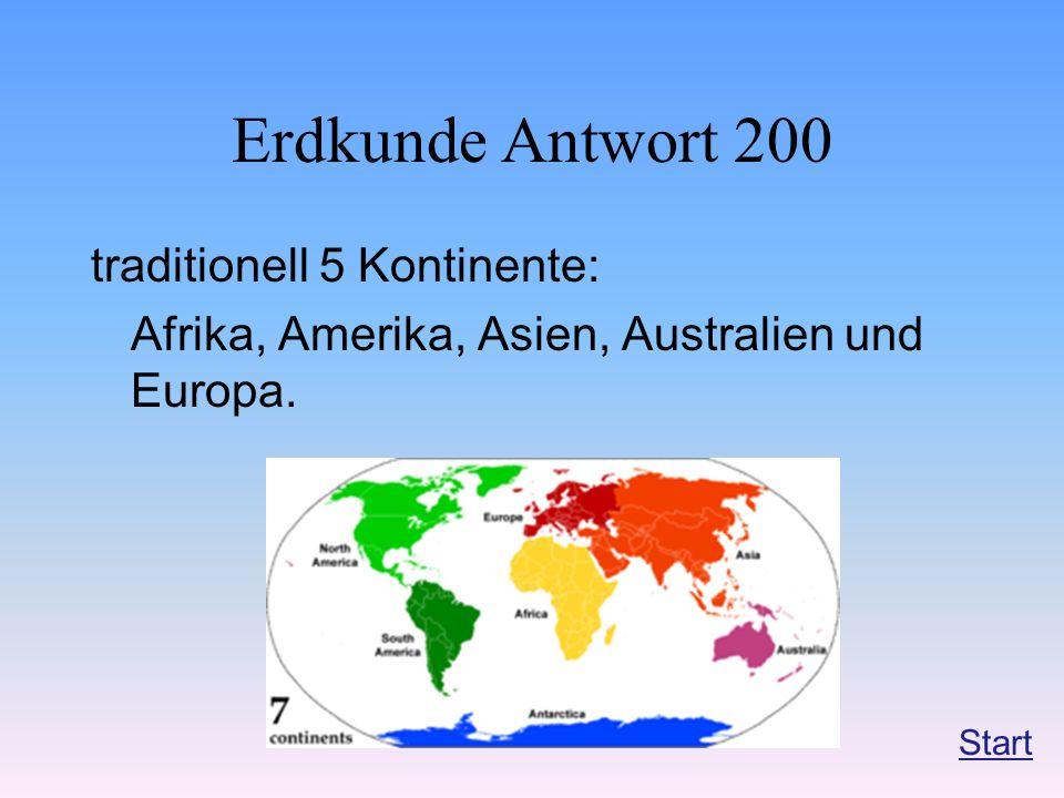Erdkunde Antwort 200 traditionell 5 Kontinente: