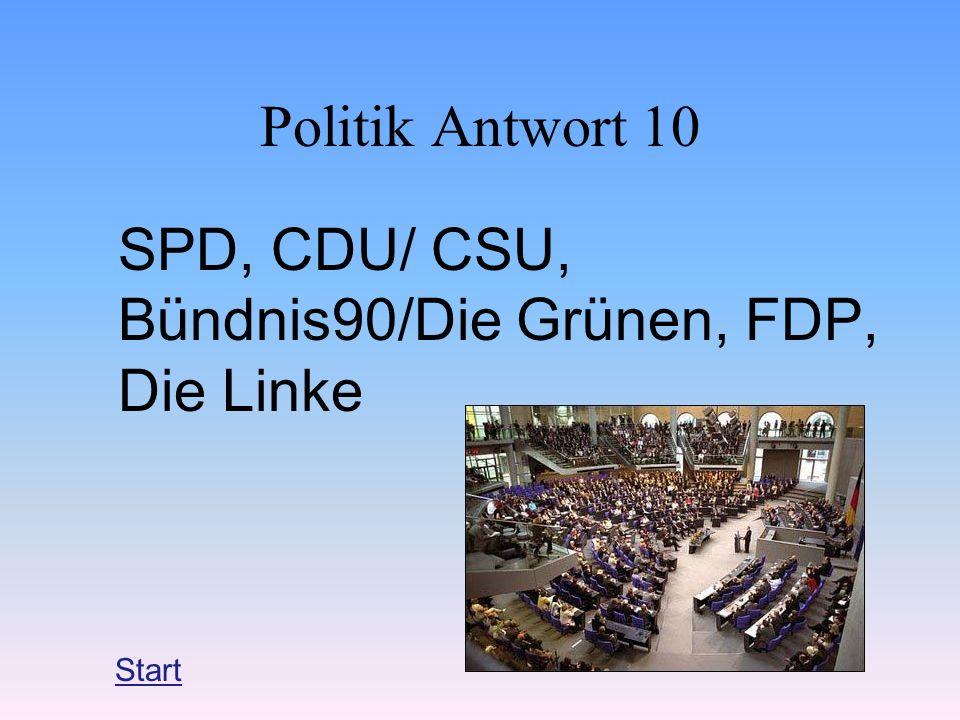 SPD, CDU/ CSU, Bündnis90/Die Grünen, FDP, Die Linke