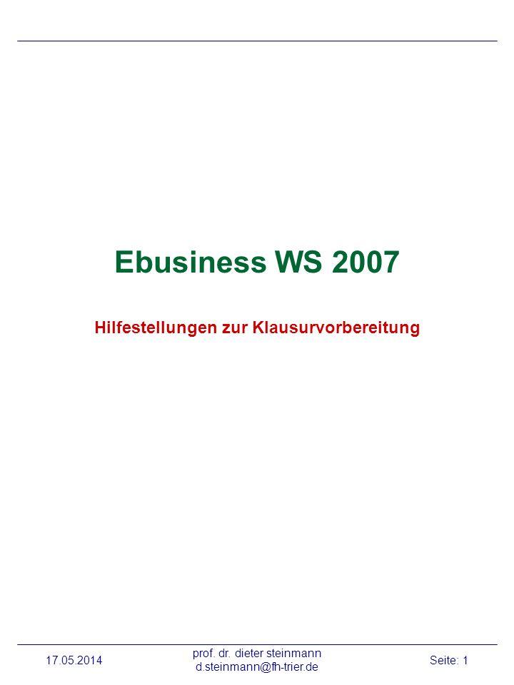 Ebusiness WS 2007 Hilfestellungen zur Klausurvorbereitung