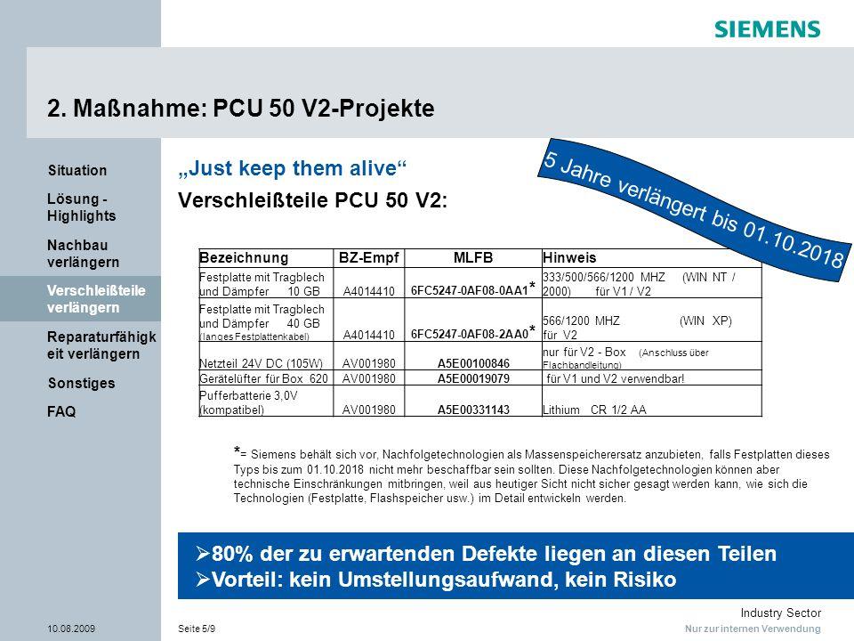 2. Maßnahme: PCU 50 V2-Projekte