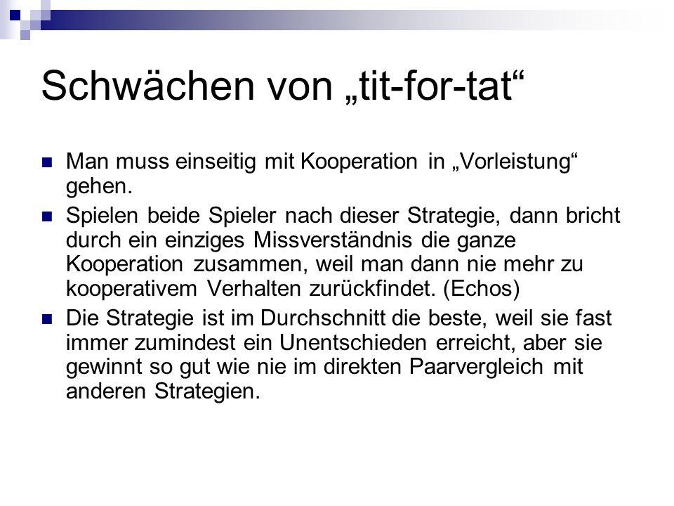 """Schwächen von """"tit-for-tat"""